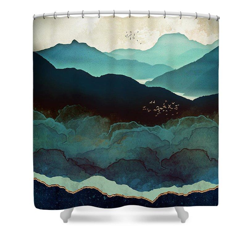 Indigo Shower Curtain featuring the digital art Indigo Mountains by Spacefrog Designs