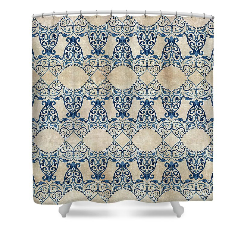 Repeat Pattern Shower Curtain Featuring The Painting Indigo Ocean