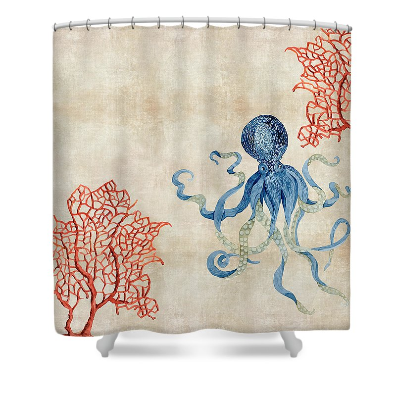 Octopus Floating Amid Red Fan Coral Shower