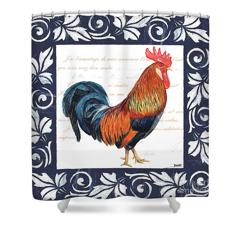 Rooster Shower Curtain featuring the painting Indigo Rooster 1 by Debbie DeWitt