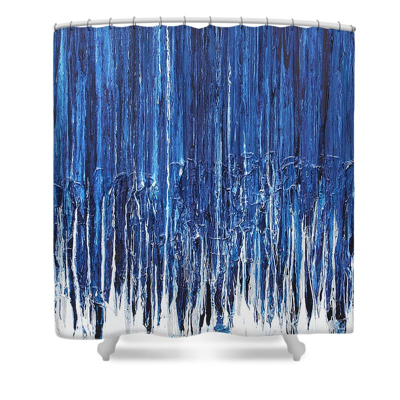 Fusionart Shower Curtain featuring the painting Indigo Soul by Ralph White