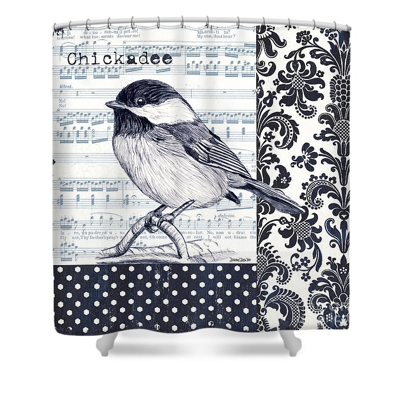 Bird Shower Curtain featuring the painting Indigo Vintage Songbird 2 by Debbie DeWitt