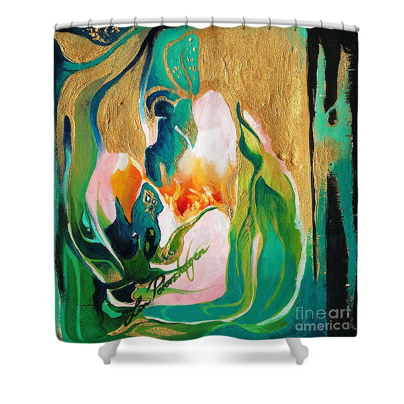 Lin Petershagen Shower Curtain featuring the painting Indigold by Lin Petershagen