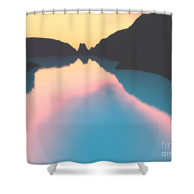 Crater Shower Curtain featuring the digital art Indonesian Crater Lakes II by Gaspar Avila
