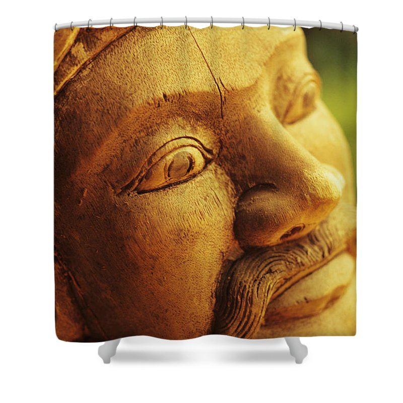 Art Shower Curtain featuring the photograph Indonesian Wood Carving by Dana Edmunds - Printscapes