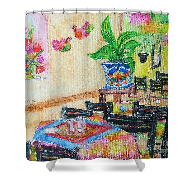 Watercolor Shower Curtain featuring the painting Indoor Cafe - Gifted by Judith Espinoza