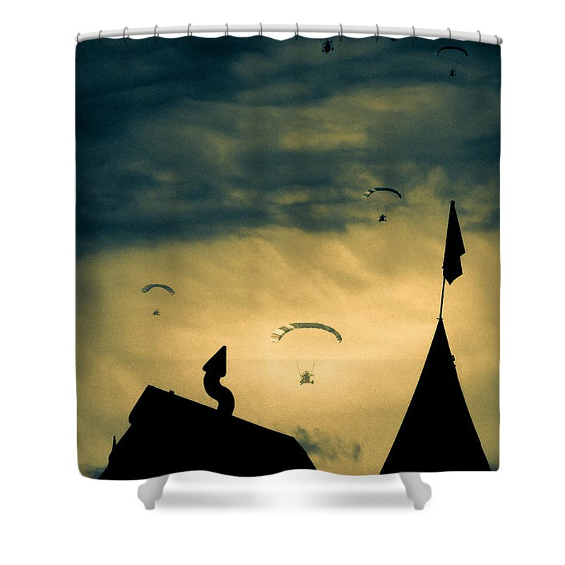 Apocalypse Shower Curtain featuring the photograph Industrial Carnival by Bob Orsillo