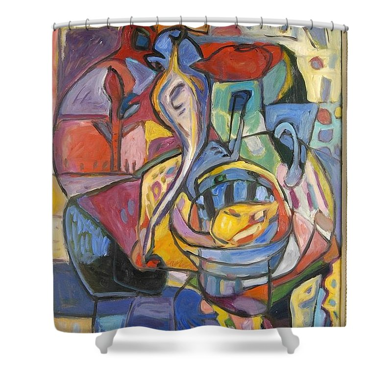 Shower Curtain featuring the painting Industrial Thinking Cap by Mykul Anjelo