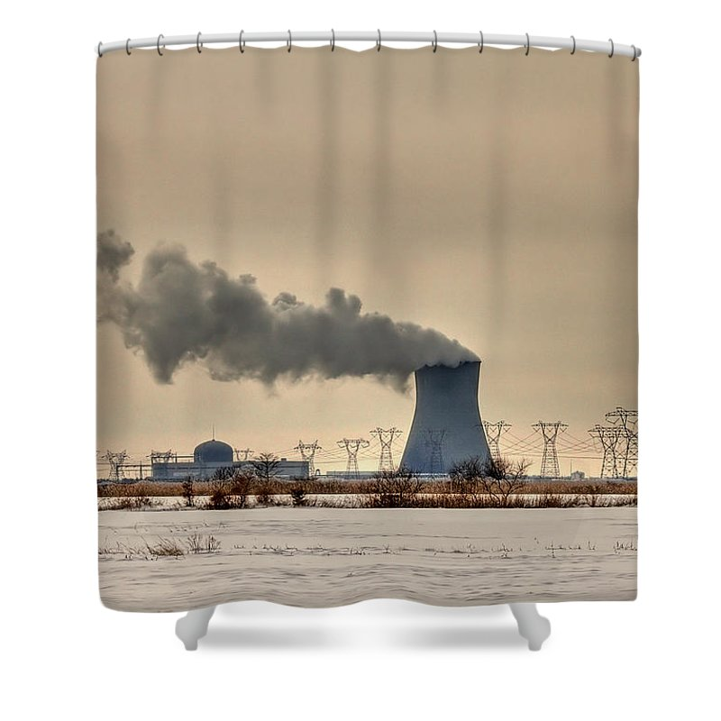 Clouds Shower Curtain featuring the photograph Industrialscape by Evelina Kremsdorf