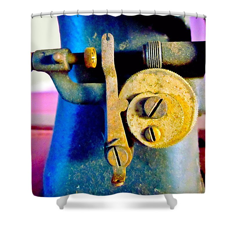 Photograph Of Sewing Machine Shower Curtain featuring the photograph Industry In Color by Gwyn Newcombe