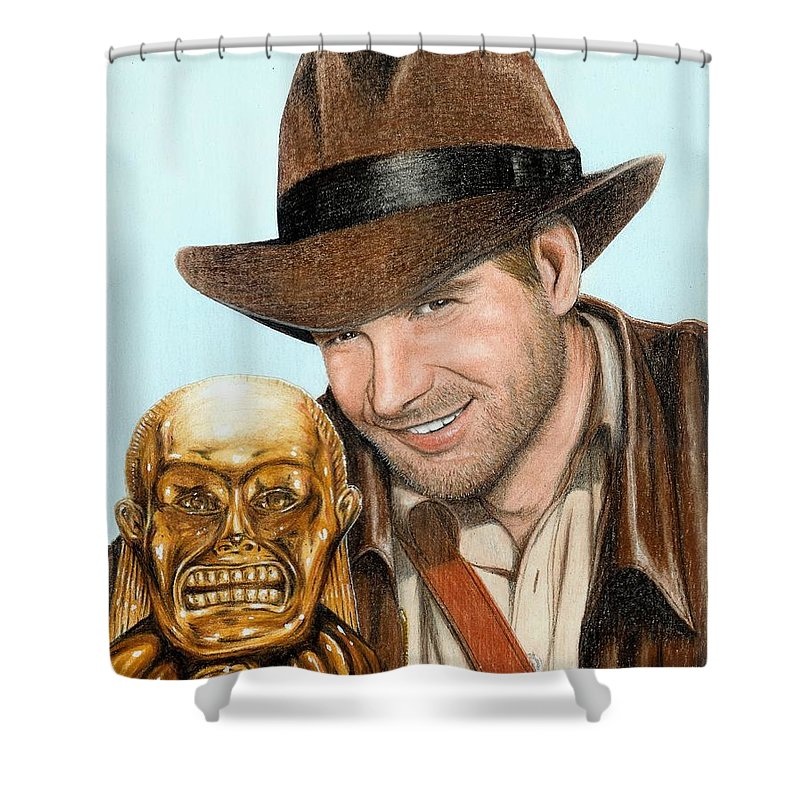 Raiders Of The Lost Ark Indiana Jones Bruce Lennon Art Harrison Ford Shower Curtain featuring the painting Indy by Bruce Lennon