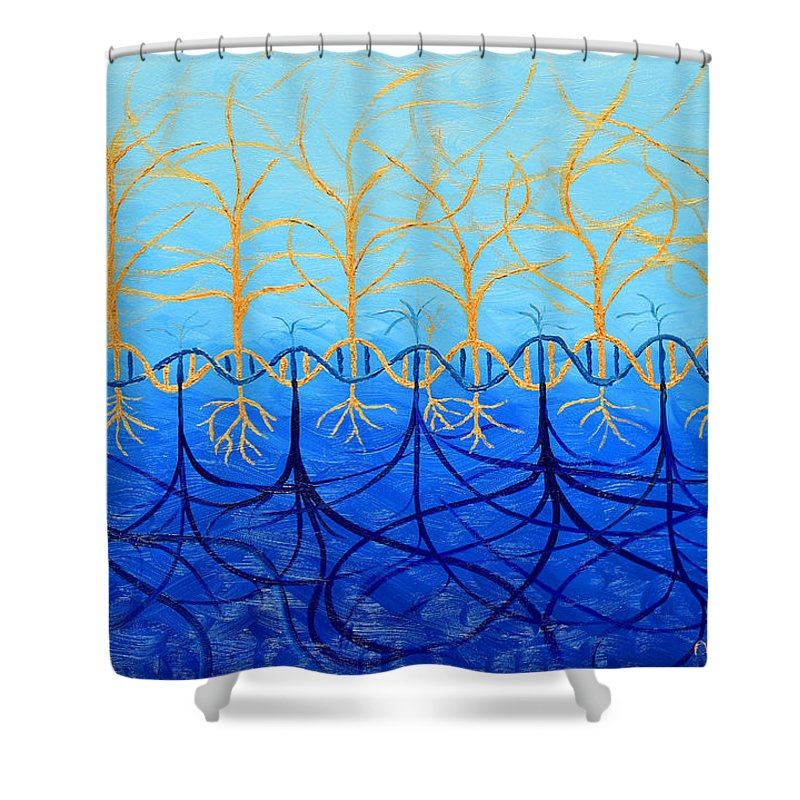 Trees Shower Curtain featuring the painting Inextricable Combined by Mihaela Dodan