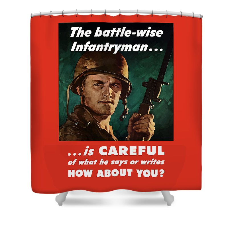 Infantryman Shower Curtain featuring the painting Infantryman Is Careful Of What He Says by War Is Hell Store