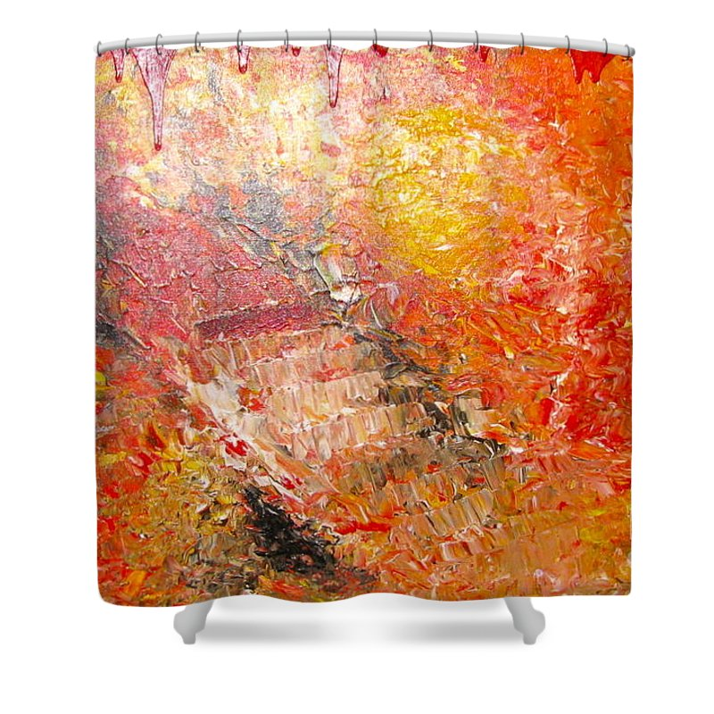 Red Shower Curtain featuring the painting Inferno by Jacqueline Athmann