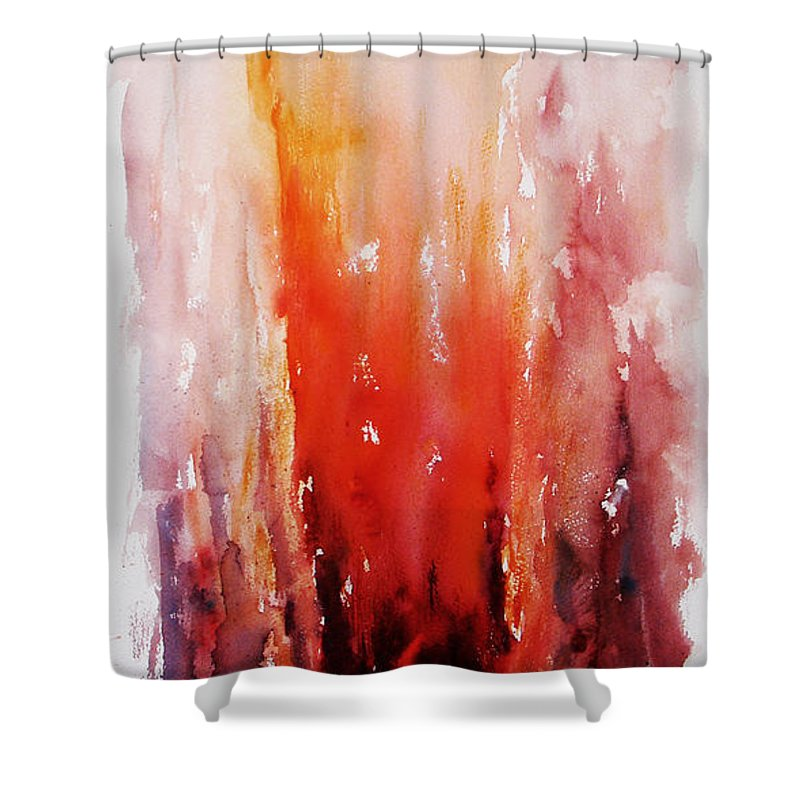 Landscape Shower Curtain featuring the painting Inferno by Rachel Christine Nowicki