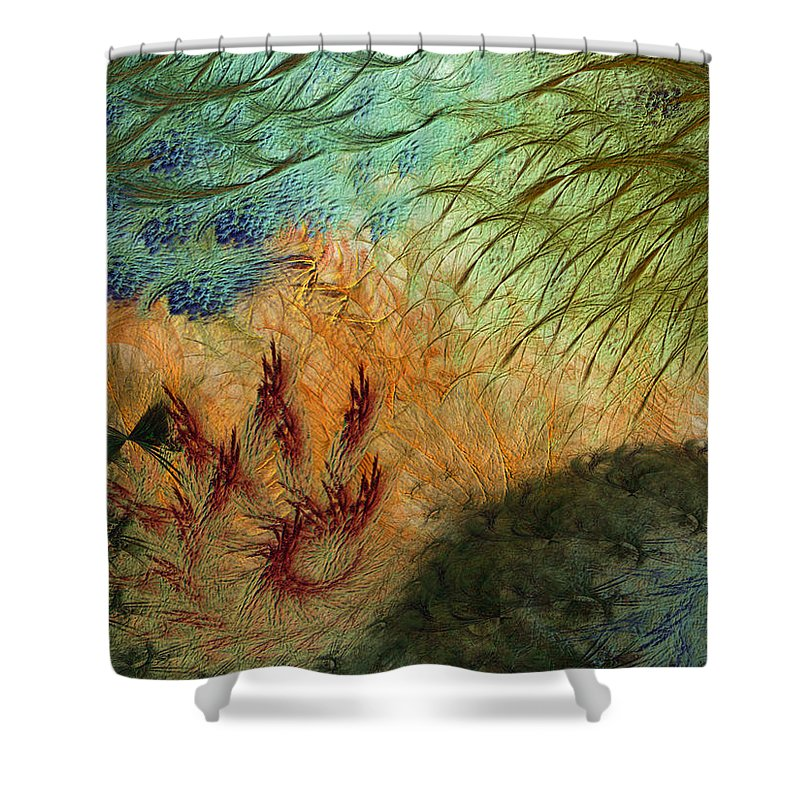 Abstract Shower Curtain featuring the digital art Inflammation by Casey Kotas