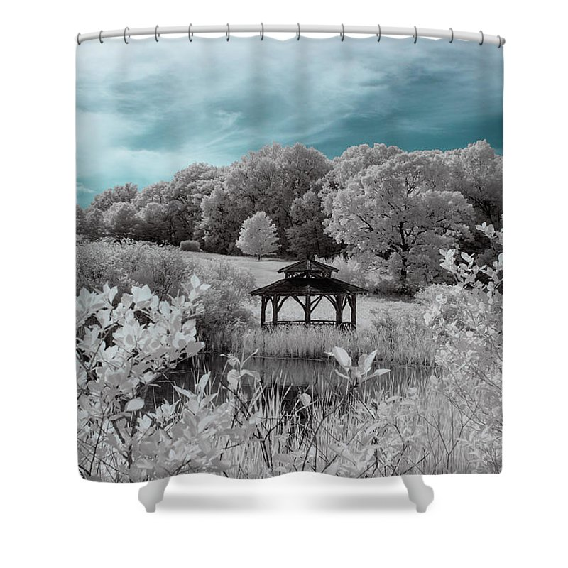 Ir Infrared Infra Red Ma Mass Massachusetts Trees Forest Secluded Foliage Gazebo Pond Brian Hale Brianhalephoto New England Newengland U.s.a. Usa Outside Outdoors Nature Natural Cloudy Sky 720nm 720 Nm Nanometer Shower Curtain featuring the photograph Infrared Gazebo by Brian Hale