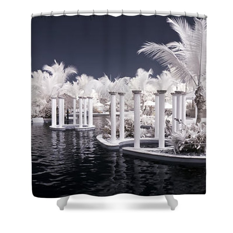 3scape Photos Shower Curtain featuring the photograph Infrared Pool by Adam Romanowicz