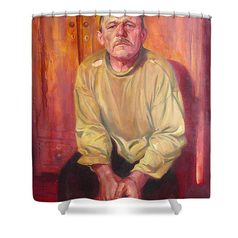 Oil Shower Curtain featuring the painting Inhabitant Of Chernobyl Zone by Sergey Ignatenko