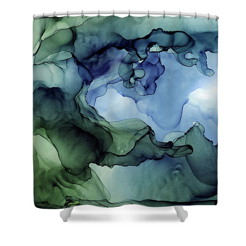 Ink Abstract Shower Curtain featuring the painting Ink Abstract Painting Blues Greens by Olga Shvartsur
