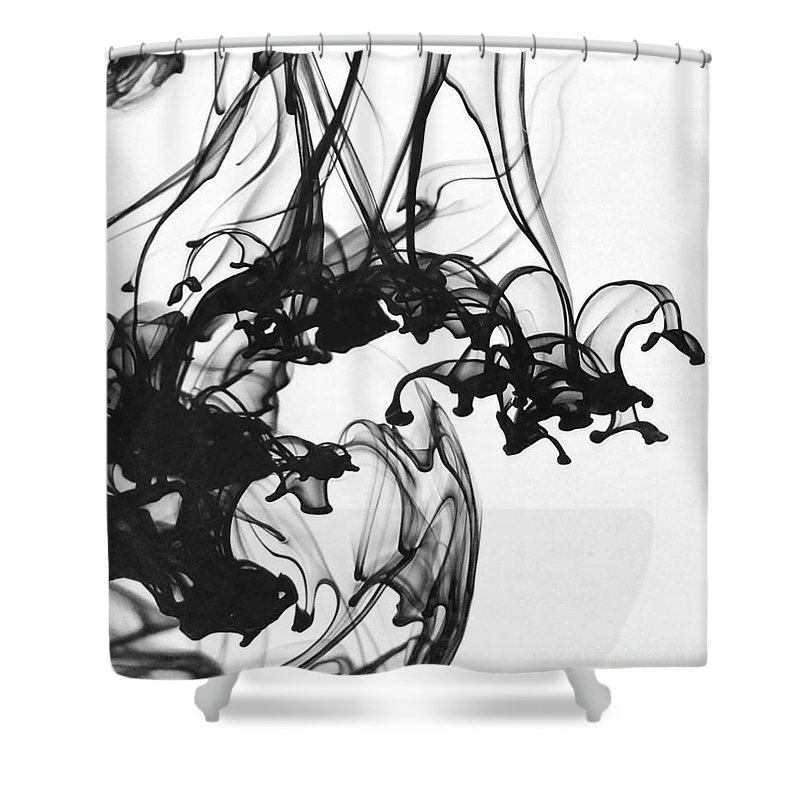 Black Shower Curtain featuring the photograph Ink II by Julianne W