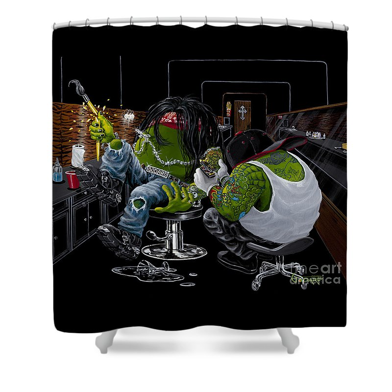 Tattoo Shower Curtain featuring the painting Ink Slinger by Michael Godard