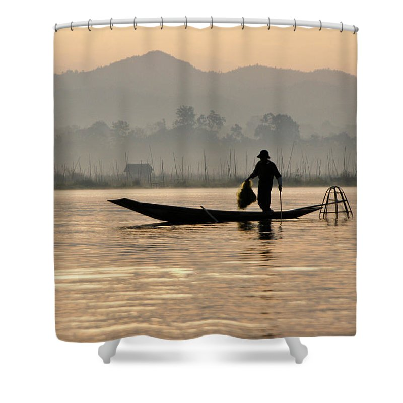 Asia Shower Curtain featuring the photograph Inle Lake Fisherman by Michele Burgess