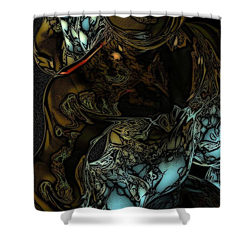 Abstract Shower Curtain featuring the digital art Inner Being by David Lane