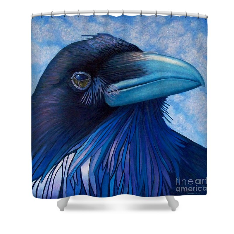 Raven Shower Curtain featuring the painting Inner Knowing by Brian Commerford
