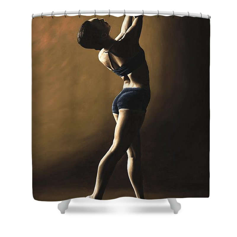 Dance Dancer Dancing Modern Female Woman Lady Girl Pointe Shadow Light Beauty Beautiful Young Art Shower Curtain featuring the painting Inner Sanctuary by Richard Young