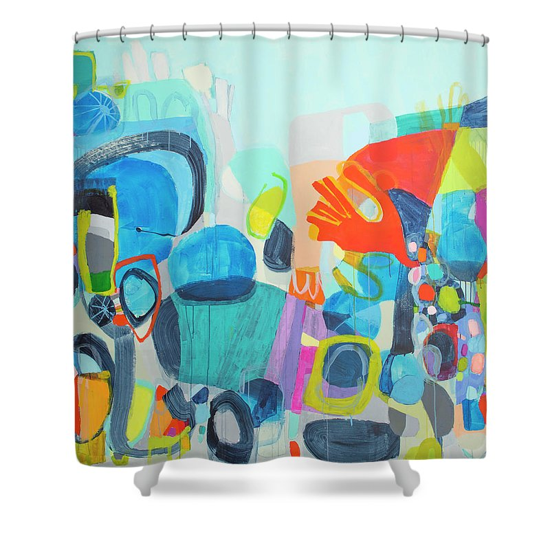Abstract Shower Curtain featuring the painting Insatiable by Claire Desjardins