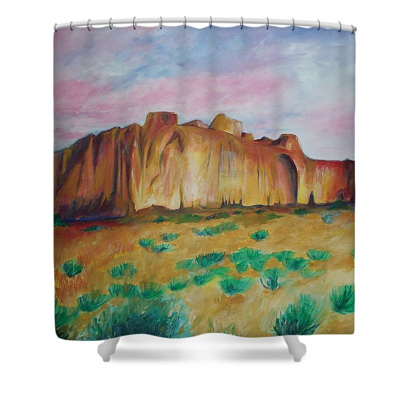 Western Landscapes Shower Curtain featuring the painting Inscription Rock by Eric Schiabor
