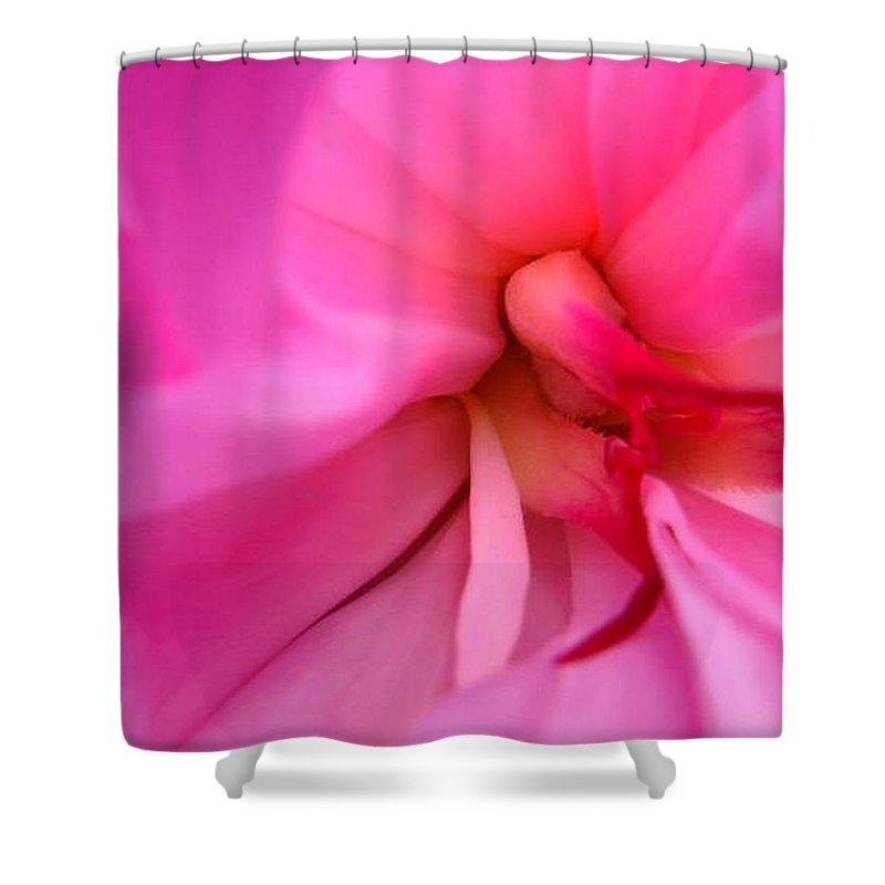 Flower Shower Curtain featuring the photograph Inside A Peony by Rhonda Barrett