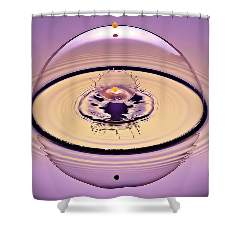 Water Drop Collision Shower Curtain featuring the photograph Inside A Saturn Bubble by Susan Candelario