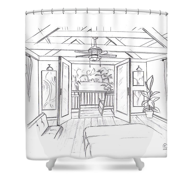 Room Shower Curtain Featuring The Drawing Inside And Outside By Ani Barmashi