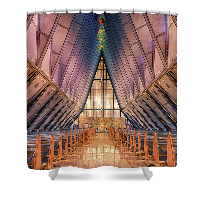 Luis A Ramirez Shower Curtain featuring the photograph Inside The Cadet Chapel by Luis A Ramirez