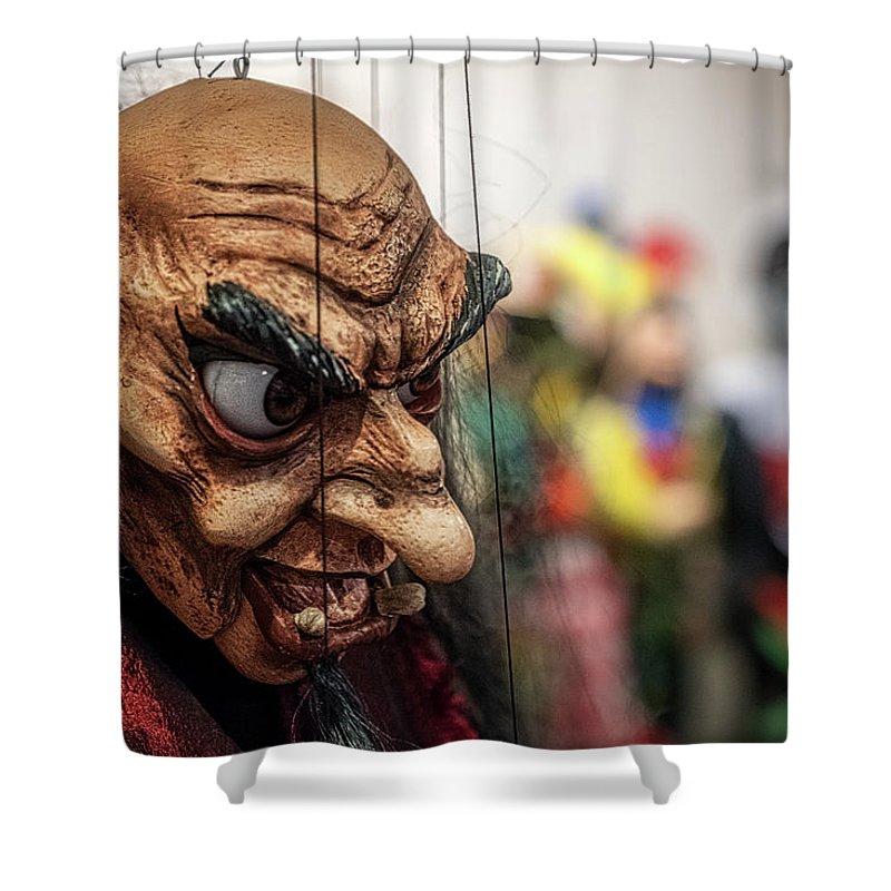 Czech Shower Curtain featuring the photograph Inside The Puppet Store - Prague by Stuart Litoff