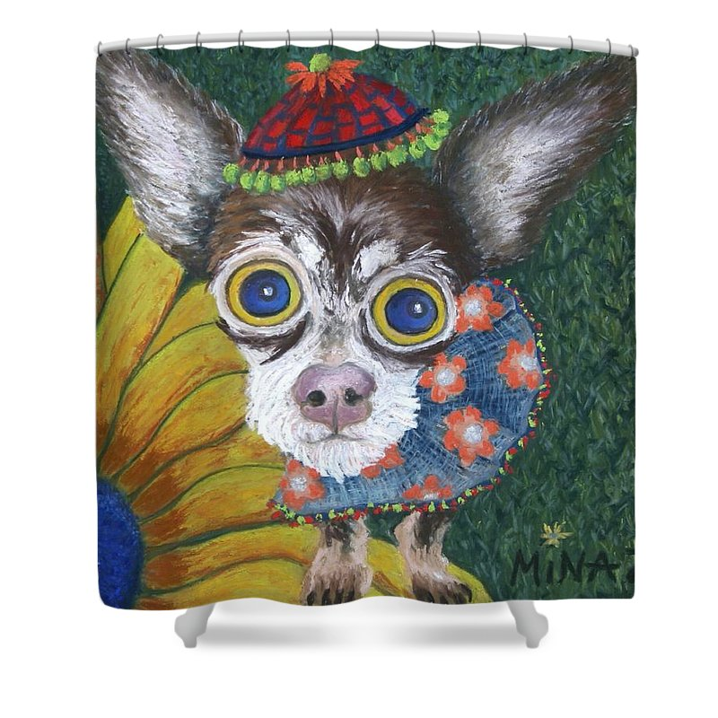 Chihuahua Shower Curtain featuring the painting Inside Van Gogh's Garden Sits Sunflower Sally by Minaz Jantz
