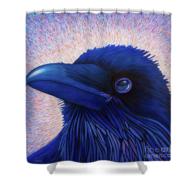Raven Shower Curtain featuring the painting Inspiration by Brian Commerford