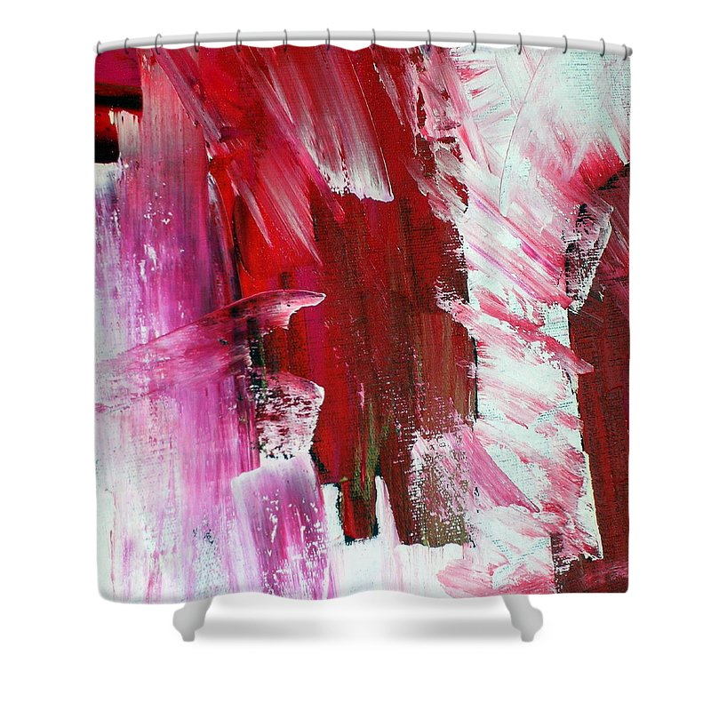 Red Shower Curtain featuring the painting Inspiration by Dawn Hough Sebaugh