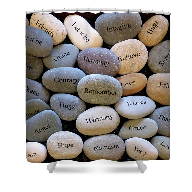 Inspirational Message Stones Shower Curtain featuring the pyrography Inspirational Message Stones by To-Tam Gerwe