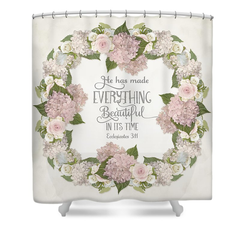 Pink Hydrangeas Shower Curtain Featuring The Painting Inspirational Scripture