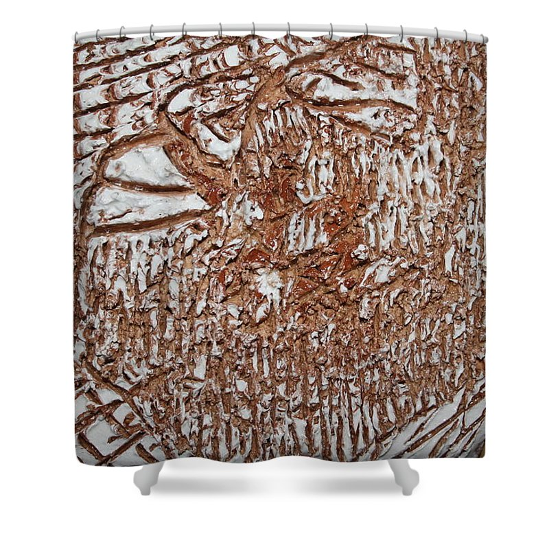 Jesus Shower Curtain featuring the ceramic art Inspirations - Tile by Gloria Ssali
