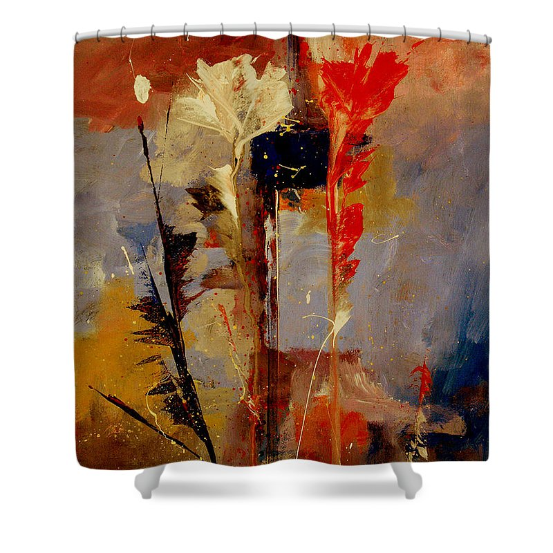 Abstract Botanical Floral Flowers Color Red Pink Blue White Yellow Orange Purple Shower Curtain featuring the painting Inspire Me by Ruth Palmer