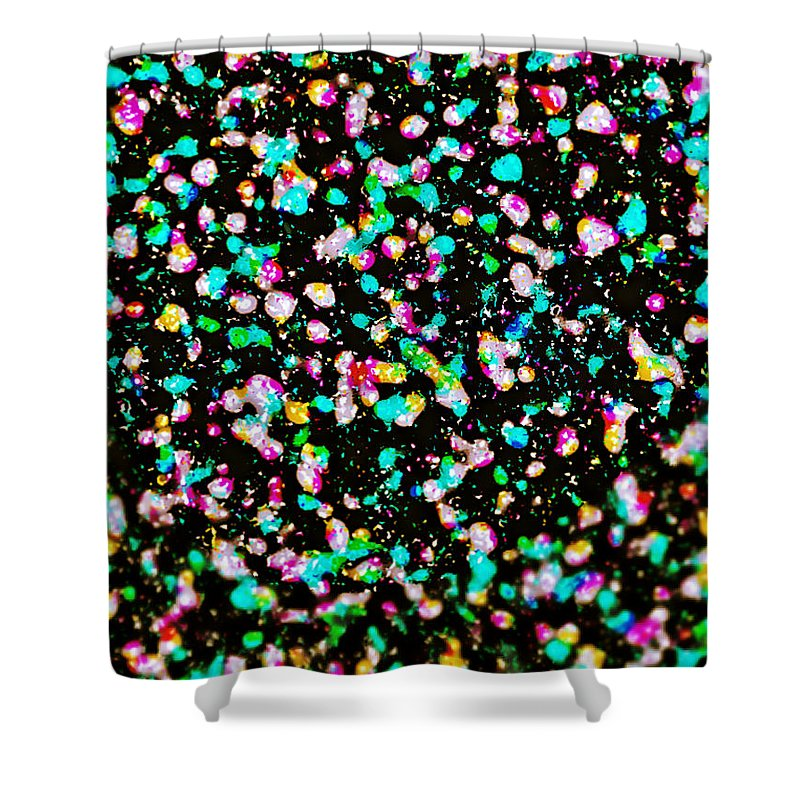 Abstract Shower Curtain featuring the digital art Inspired By Pollock by Michael Knight