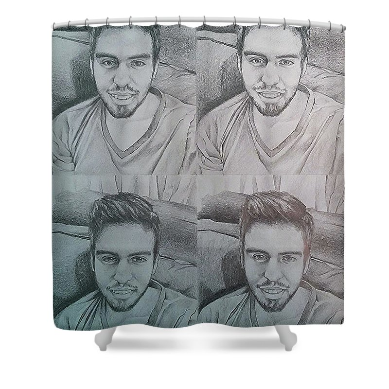 Drawing Shower Curtain featuring the drawing Instagram Portrait by Carola Moreno