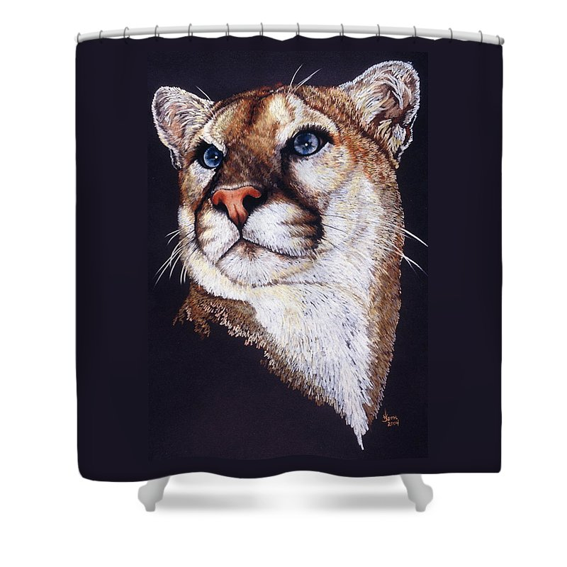 Cougar Shower Curtain featuring the drawing Intense by Barbara Keith