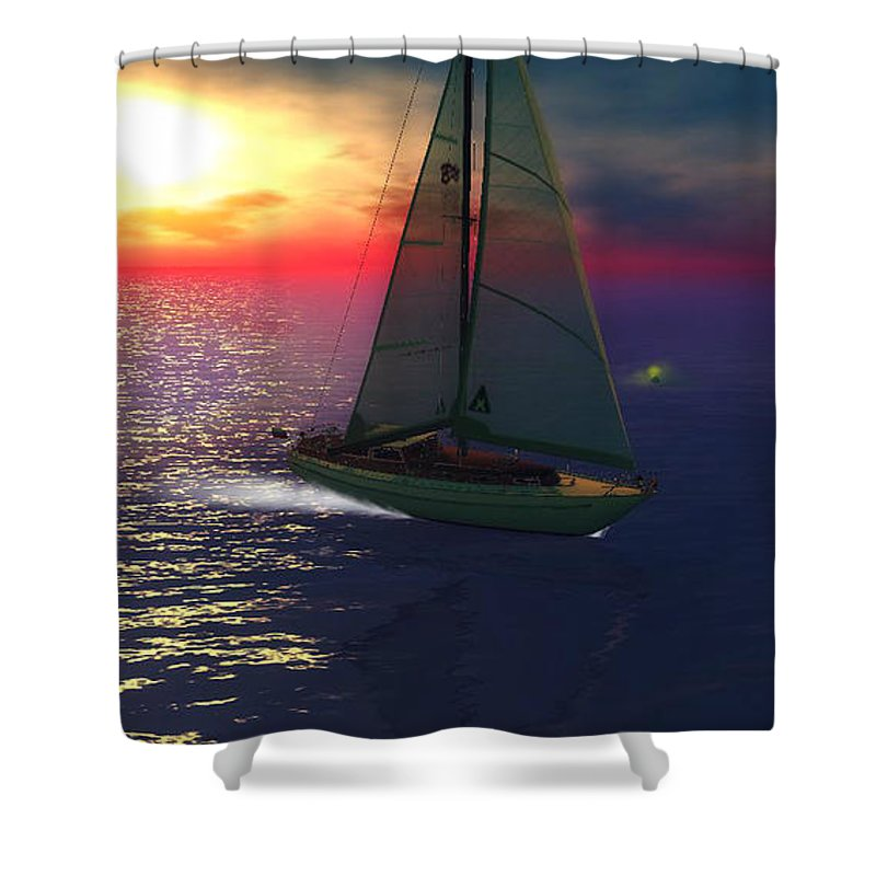 Landscapes Shower Curtain featuring the digital art Intense Sunrise by Laureano Rivera
