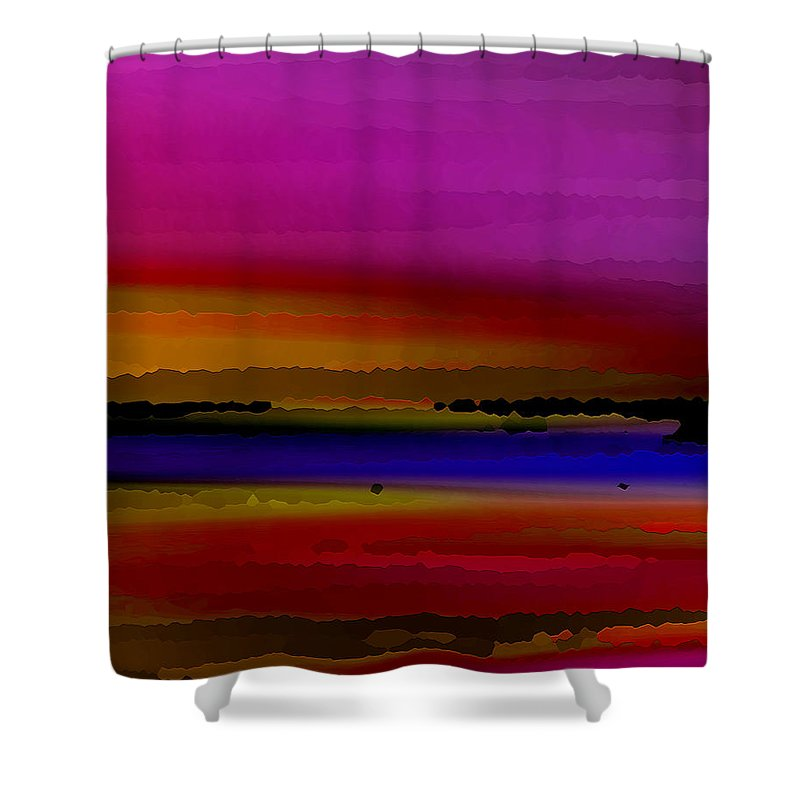 Abstract Shower Curtain featuring the digital art Intensely Hued by Ruth Palmer