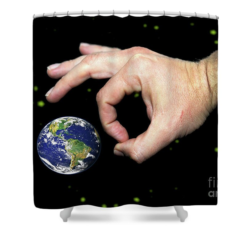 Intergalactic Shower Curtain featuring the digital art  Intergalactic Marbles by Richard Wareham